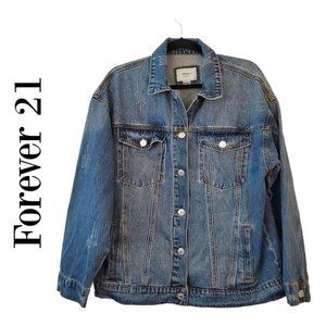 Forever 21 large trucker jean jacket distressed
